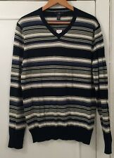 Mens GAP Blue and Cream Stripe V Neck Knit Jumper Size Medium - BNWT