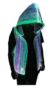 Men's LED Fiber Optic Light up 7 Colors Full-Zip Hoodie for Party Music Festival