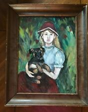 Vintage Original Girl with Puppy Dog Painting Signed Antique Impressionist Art