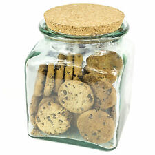 1500ml Square Glass Storage Jar With Cork Lid Food Kitchen Sweet Candy Container