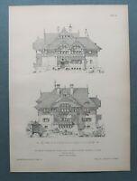 AR90) Architektur Einsiedel Chemnitz 1890 Villa Dürfeld Seiten Holzstich 28x39cm