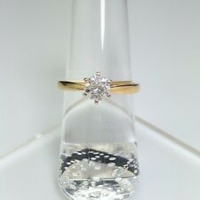 14k Yellow Gold 3/4ct Brilliant Round Diamond Solitaire Engagement Ring Sz 6.25