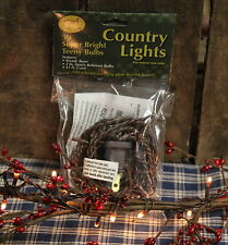 50 Count Teeny Rice Lights Strand CLEAR - Brown Cord ~ Country - Rustic ~