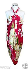 Jumbo Plus Size Tropical Cruise Beach Luau Sarong Wrap Dress Pareo Pink Flower
