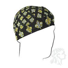 Black Gold White Fleur de Lis Small Pattern #1 Doo Rag Headwrap Skull Cap Biker