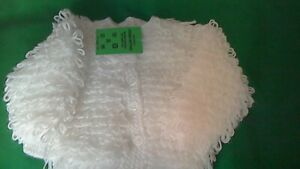 Handknitted  Baby's  white loopy  Cardigan  size 20. inch chest