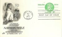 "U.S. 1977 ""PATRIOT NATHAN HALE"" Scott #UY28 ArtCraft FDC Cachet with Paid Reply"