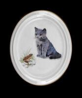 9988138 Porzellan Medaillon Wandbild Katze mit Frosch Kämmer 9x11cm
