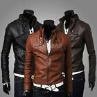 Men Stand Collar Slim Fit Casual Leather Jacket Motorcycle Short Coat Outerwear