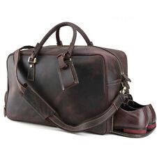 """New 20"""" Men Genuine Leather Travel Shoes Suitcase Handbag Weekender Shoulder Bag"""