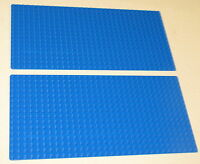 "LEGO LOT OF 2 NEW 16 X 32 DOT BLUE BASEPLATE PLATFORM 5"" X 10"" PLATES WATER"