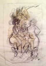 """Julian Ritter - """"Nude Ladies with Clown""""  Pencil on Vellum  Un-Signed  - 232"""