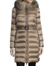 New Authentic 2017 Moncler Tinuviel Fur Trimmed Puffer Jacket Nwt Light Beige