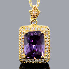Pendant Emerald Cut Purple Amethyst 18k Yellow Gold Plated Free Necklace Chain
