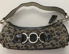 Vintage GUESS Sm Navy & Gray Quattro Logo Leopard Interior Metal Trim Bag Purse