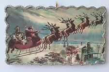 Santa Flying over House * Christmas Ornament * Vintage Card Image * Glitter