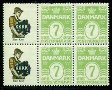 DENMARK (RE31) 7ore green Pane of 6 K.K.K.K.NH, short perf at top