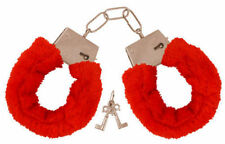 Metal Red Fluffy Furry Handcuffs Stag Hen PRTY Fancy Dress Role Play Night