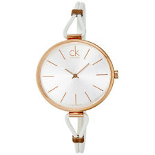 Calvin Klein Select Silver Dial White Leather Ladies Watch K3V236L6