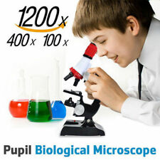 Children Science Lab Microscope Kit Set 100/400/1200X With Light Educational Toy