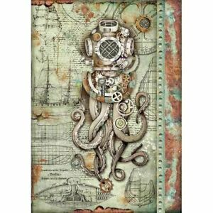 STAMPERIA Decoupage Mechanical Sea World OCTOPUS Rice Paper A4 DFSA4435