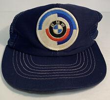 Vtg BMW Snapback Hat Blue Trucker Style Cap Mesh Back BMW Patch Adjustable