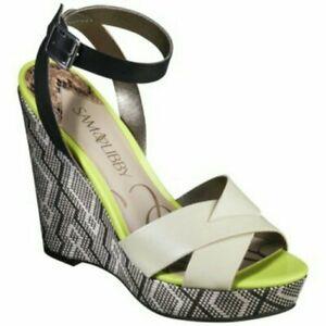 Sam & Libby Aztec Print Wedge Sandals 10 Cream Black Neon Yellow Platform Tribe