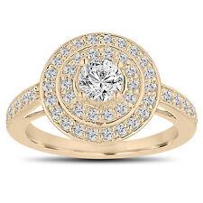 Diamond Engagement Ring 14K Yellow Gold 1.04 Carat Double Halo Pave Handmade