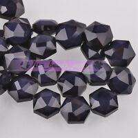 5pcs 14mm Hexagon Shape Faceted Glass Loose Spacer Beads Porcelain Bluish Violet