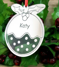 PERSONALISED CHRISTMAS PUDDING TREE DECORATION BAUBLE XMAS GIFT ORNAMENT SILVER