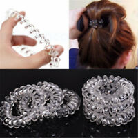 6pcs Clear Elastic Rubber Hair Ties Hairband Spiral Rubber Rope Hair Ties