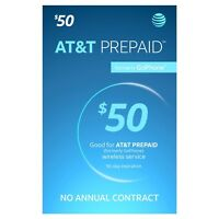 AT&T- AT&T Prepaid $50 Refill Top-Up Prepaid , AIRTIME  DIRECTLY ADDED T0 MOBILE