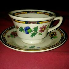 VINTAGE SYRACUSE CHINA TEACUP & SAUCER SET FLORAL DESIGN DISCONTINUED