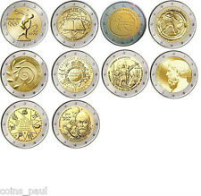 Greece 2 euro set 10 coins 2004 - 2014, UNC Grece Grecia Griechenland Греция