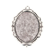 10PCS Alloy Pendant Cabochon Settings Oval Antique Silver Tray: 30x40mm (41AS)