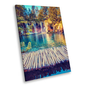 Portrait Scenic Photo Canvas Picture Print Wall Art Blue Purple Trees Waterfall