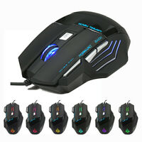 New 5500 DPI 7 Button LED Optical USB Wired Gaming Mouse Mice For Pro Gamer Cool