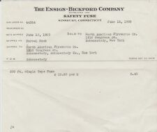 Vintage 1950 Ensign - Bickford SAFETY FUSE Simsbury, CT Invoice