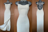 KAREN MILLEN UK 10 Ivory Beaded Wedding Bridal Long Gown Party Cocktail Dress