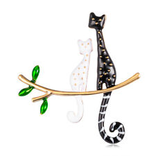 Collar Decor Badge Banquet Jewelry Zl Enamel Cartoon Cat Lying Branch Brooch Pin