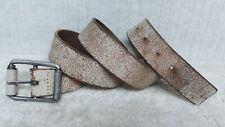 MEN'S Casual Fashion BELT - DISTRESSED OFF WHITE Leather - Size 38