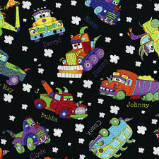 Cheerful Monster Trucks cotton Quilt fabric RJR BTY Tossed Trucks on Black