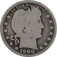 1900 Barber Quarter AG About Good 90% Silver 25c US Type Coin Collectible