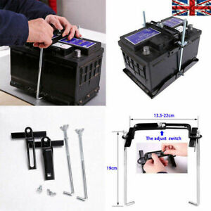 Metal Universal Car Battery Tray Adjustable Hold Down Clamp Bracket Kit