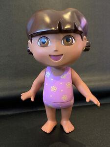 "2002 8"" DORA THE EXPLORER Bath/Shower/Pool Toy Figure Pink & Yellow Bathing Suit"