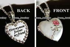 Xmas Gifts for Her Mother Mum - Silver Locket Necklace Pink Rose Engraved US1
