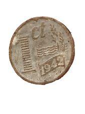 NETHERLANDS 1 Cent KM# 170 Wilhelmina German Occupation 1942 Zinc 2 g ø 17 mm
