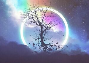Mythical Eclipse Tree Poster Print Size A4 / A3 Fantasy Art Poster Gift #14024