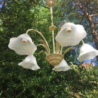 Ancien Lustre 5 tulipes en pâte de verre