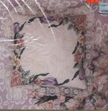 Multi-Floral Pillow Candlewicking embroidery pillow kit flowers tulip rose lace